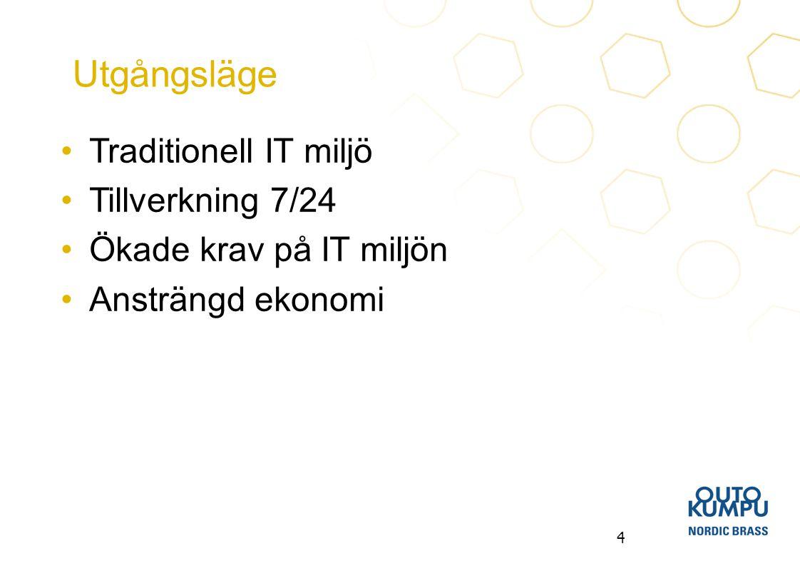 4 Traditionell IT miljö Tillverkning 7/24 Ökade krav på IT miljön Ansträngd ekonomi Utgångsläge
