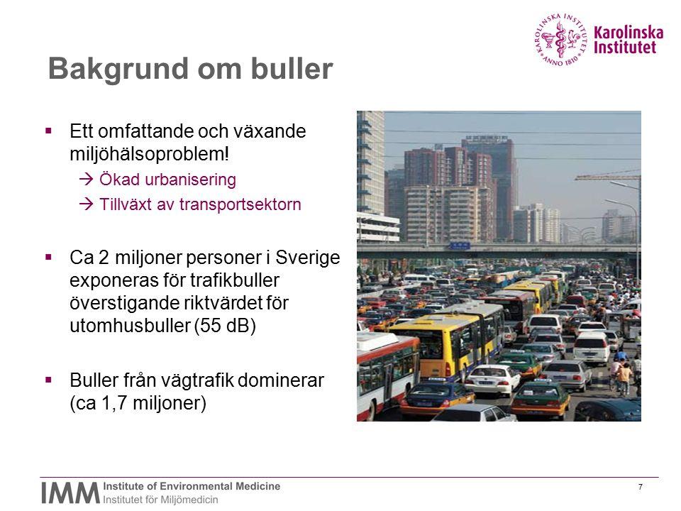 7 Bakgrund om buller  Ett omfattande och växande miljöhälsoproblem!  Ökad urbanisering  Tillväxt av transportsektorn  Ca 2 miljoner personer i Sve