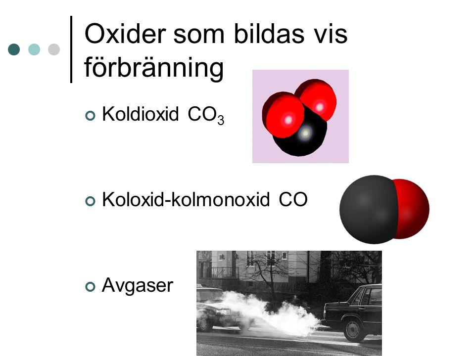 Oxider som bildas vis förbränning Koldioxid CO 3 Koloxid-kolmonoxid CO Avgaser