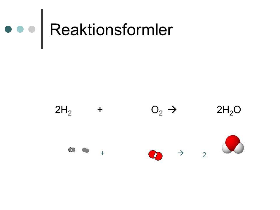 Reaktionsformler 2H 2 + O 2  2H 2 O 2 + 