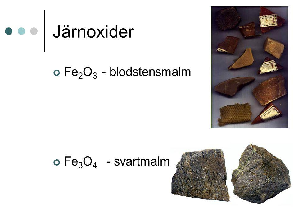 Järnoxider Fe 2 O 3 - blodstensmalm Fe 3 O 4 - svartmalm