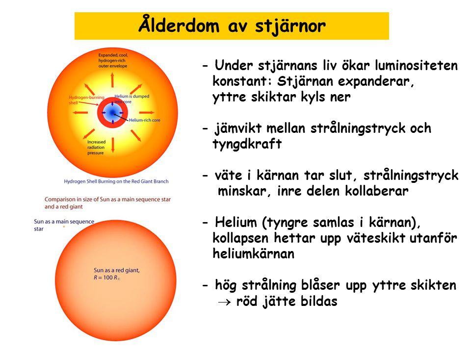 Ålderdom av stjärnor - Under stjärnans liv ökar luminositeten konstant: Stjärnan expanderar, yttre skiktar kyls ner - jämvikt mellan strålningstryck o