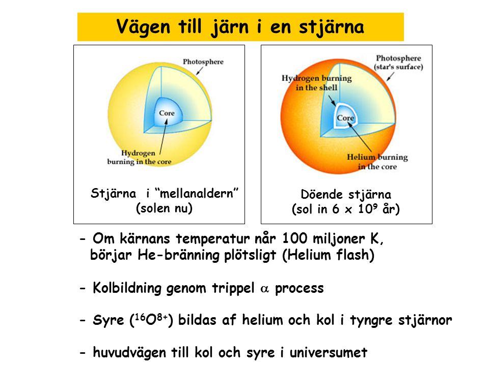 """Vägen till järn i en stjärna Stjärna i """"mellanaldern"""" (solen nu) Döende stjärna (sol in 6 x 10 9 år) - Om kärnans temperatur når 100 miljoner K, börja"""