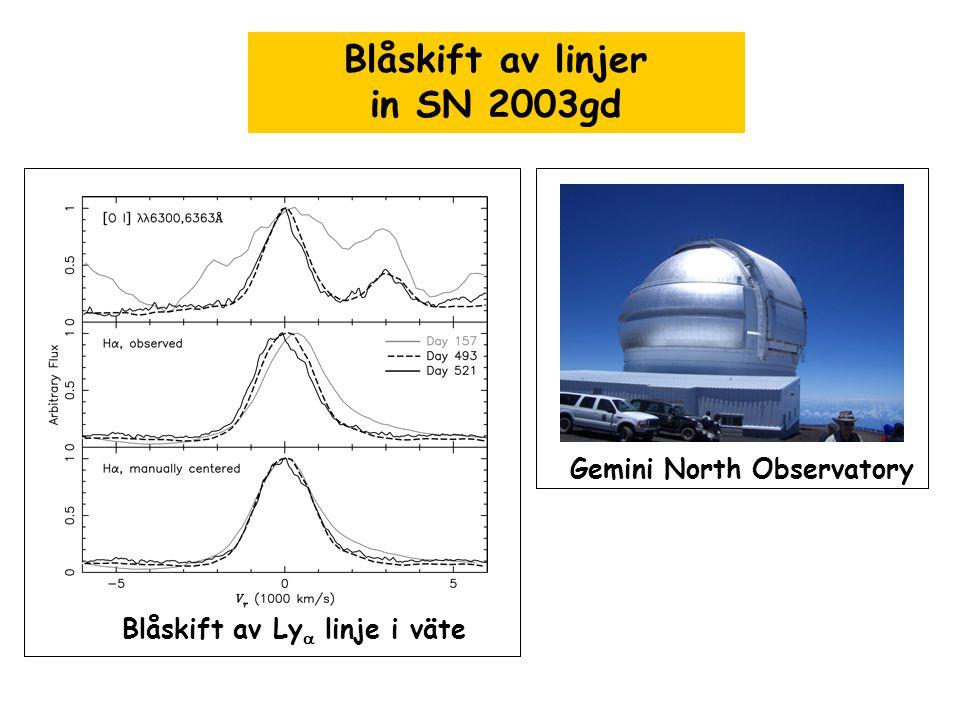 Blåskift av linjer in SN 2003gd Gemini North Observatory Blåskift av Ly  linje i väte