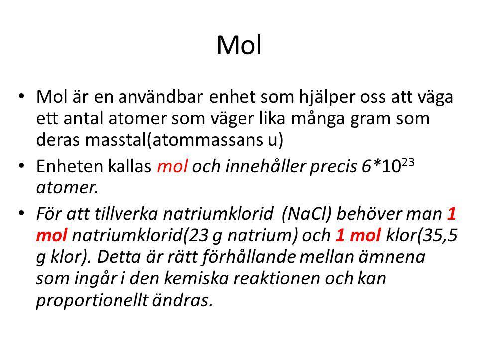 Mol Mol är en användbar enhet som hjälper oss att väga ett antal atomer som väger lika många gram som deras masstal(atommassans u) Enheten kallas mol