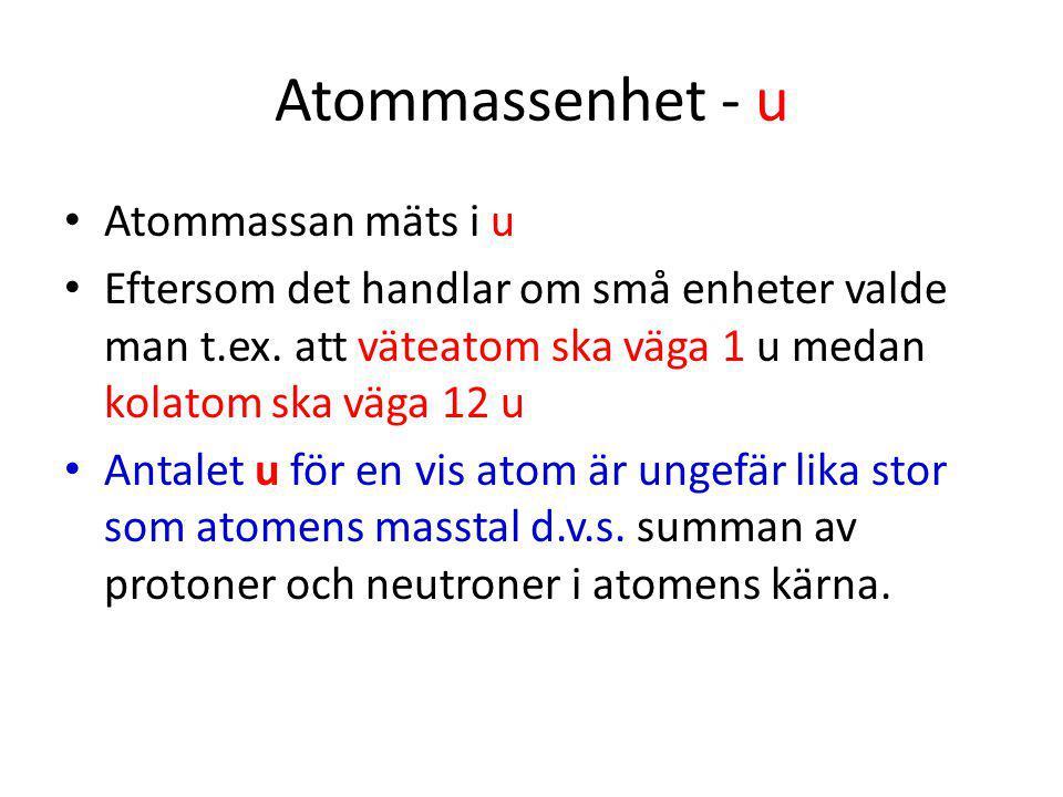 Atommassenhet - u Atommassan mäts i u Eftersom det handlar om små enheter valde man t.ex. att väteatom ska väga 1 u medan kolatom ska väga 12 u Antale