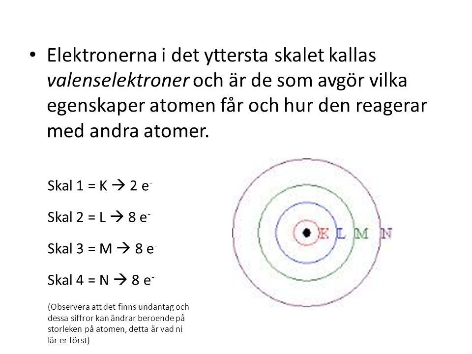 Elektronerna i det yttersta skalet kallas valenselektroner och är de som avgör vilka egenskaper atomen får och hur den reagerar med andra atomer. Skal