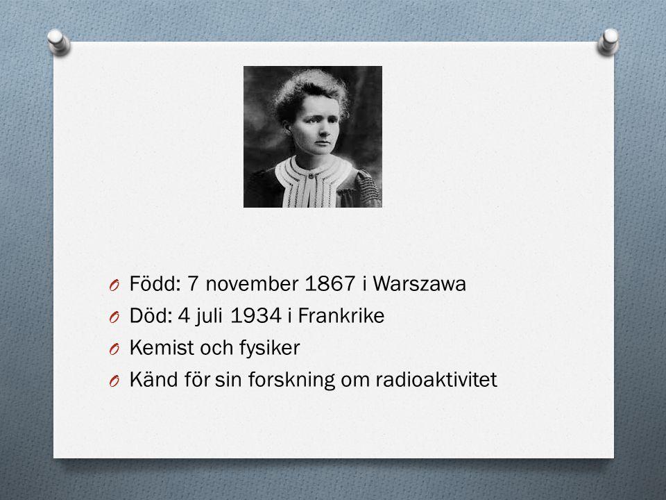 O 1903 nobelpriset i fysik tillsammans med Henri Becquerel och sin man Pierre Curie.
