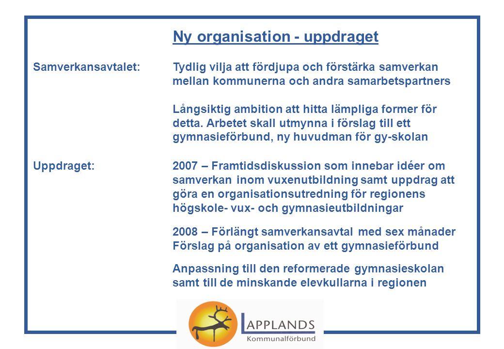 Ny organisation - uppdraget Samverkansavtalet: Tydlig vilja att fördjupa och förstärka samverkan mellan kommunerna och andra samarbetspartners Långsiktig ambition att hitta lämpliga former för detta.