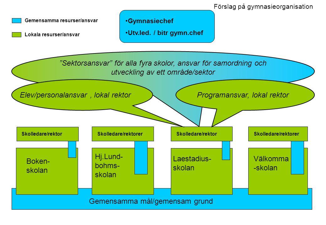 Sektorsansvar för alla fyra skolor, ansvar för samordning och utveckling av ett område/sektor Förslag på gymnasieorganisation Boken- skolan Hj.Lund- bohms- skolan Laestadius- skolan Välkomma -skolan Gymnasiechef Utv.led.