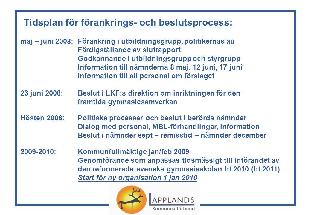 Tidsplan för förankrings- och beslutsprocess: maj – juni 2008:Förankring i utbildningsgrupp, politikernas au Färdigställande av slutrapport Godkännande i utbildningsgrupp och styrgrupp Information till nämnderna 8 maj, 12 juni, 17 juni Information till all personal om förslaget 23 juni 2008:Beslut i LKF:s direktion om inriktningen för den framtida gymnasiesamverkan Hösten 2008:Politiska processer och beslut i berörda nämnder Dialog med personal, MBL-förhandlingar, information Beslut i nämnder sept – remisstid – nämnder december 2009-2010:Kommunfullmäktige jan/feb 2009 Genomförande som anpassas tidsmässigt till införandet av den reformerade svenska gymnasieskolan ht 2010 (ht 2011) Start för ny organisation 1 jan 2010