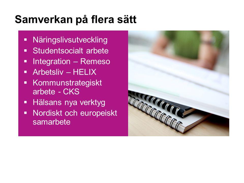 Samverkan på flera sätt  Näringslivsutveckling  Studentsocialt arbete  Integration – Remeso  Arbetsliv – HELIX  Kommunstrategiskt arbete - CKS  Hälsans nya verktyg  Nordiskt och europeiskt samarbete