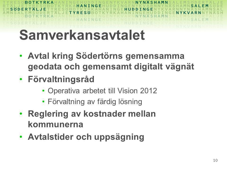 Samverkansavtalet Avtal kring Södertörns gemensamma geodata och gemensamt digitalt vägnät Förvaltningsråd Operativa arbetet till Vision 2012 Förvaltni