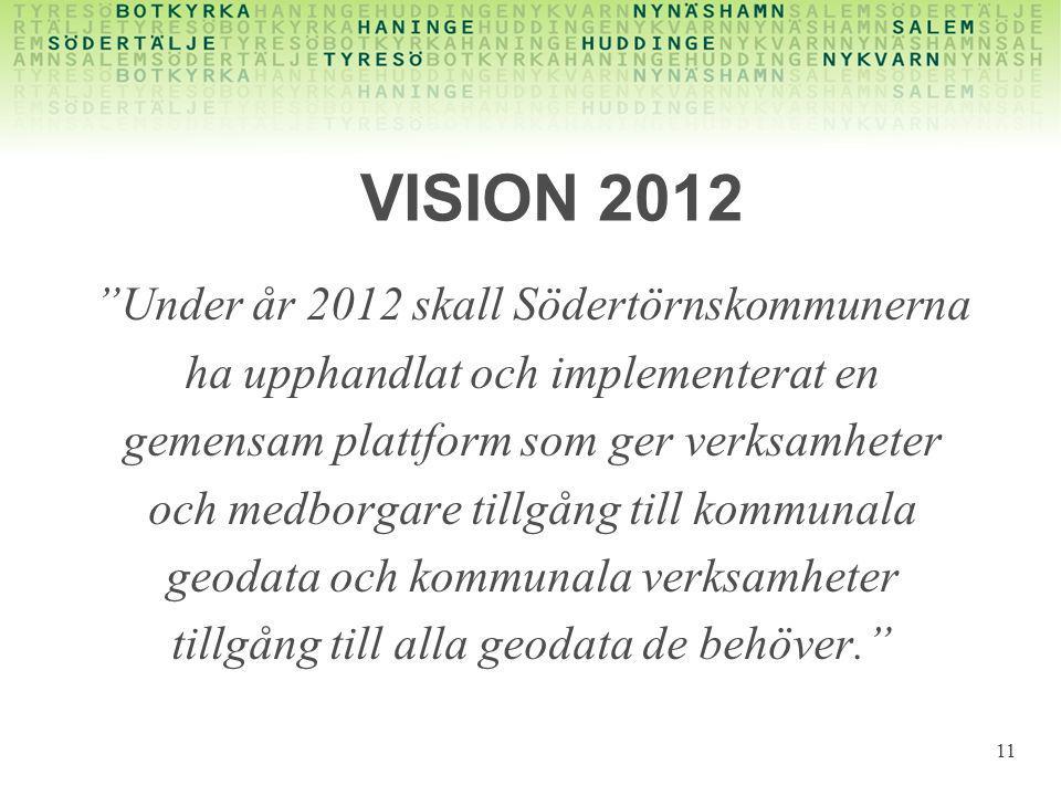 """VISION 2012 """"Under år 2012 skall Södertörnskommunerna ha upphandlat och implementerat en gemensam plattform som ger verksamheter och medborgare tillgå"""