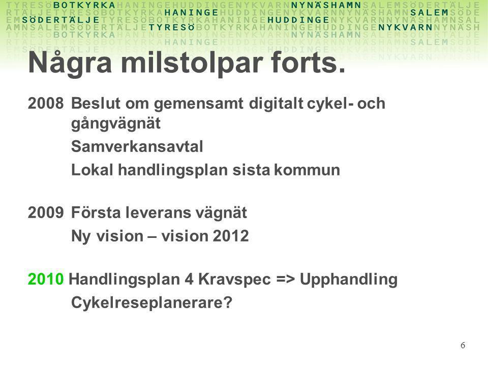 Några milstolpar forts. 2008Beslut om gemensamt digitalt cykel- och gångvägnät Samverkansavtal Lokal handlingsplan sista kommun 2009Första leverans vä