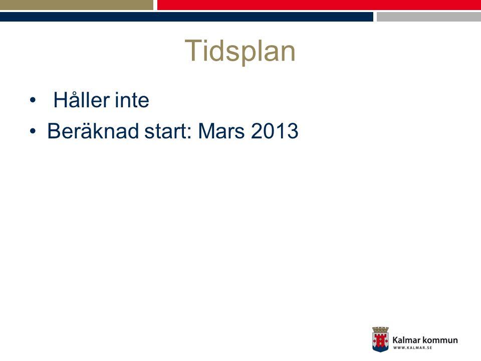 Tidsplan Håller inte Beräknad start: Mars 2013