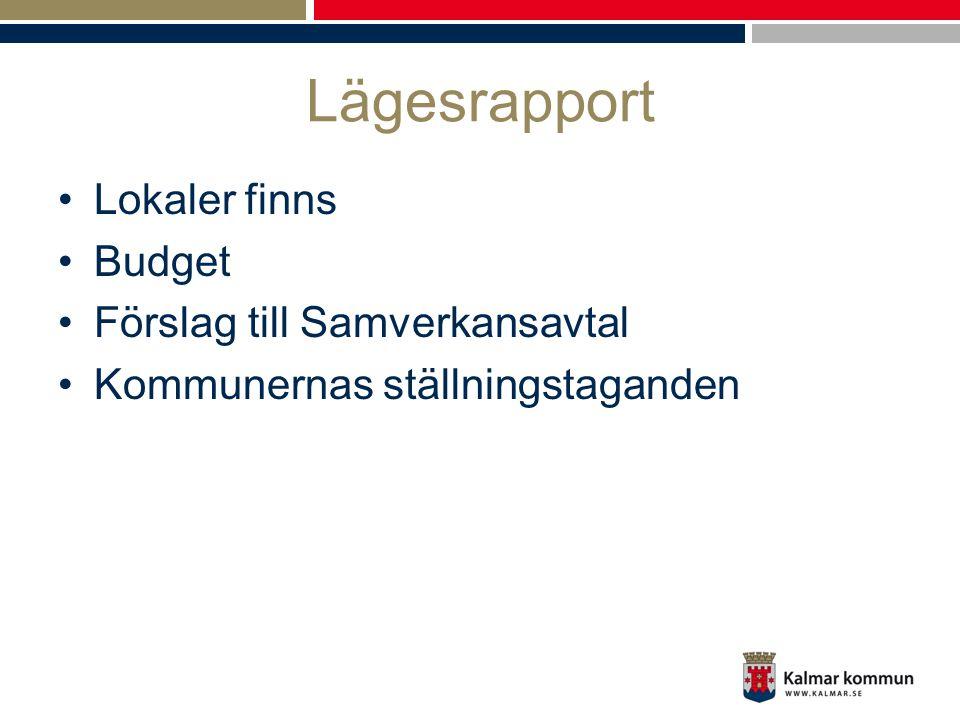 Lägesrapport Lokaler finns Budget Förslag till Samverkansavtal Kommunernas ställningstaganden