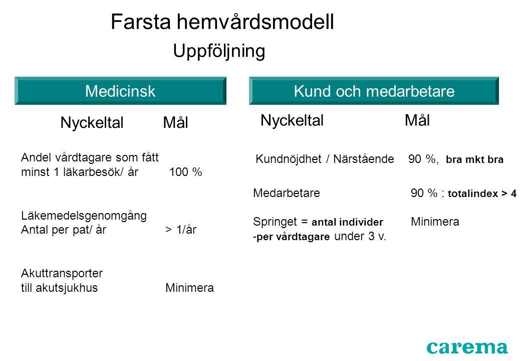 Uppföljning Andel vårdtagare som fått minst 1 läkarbesök/ år 100 % Läkemedelsgenomgång Antal per pat/ år> 1/år Akuttransporter till akutsjukhusMinimer