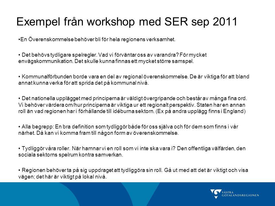Exempel från workshop med SER sep 2011 En Överenskommelse behöver bli för hela regionens verksamhet.
