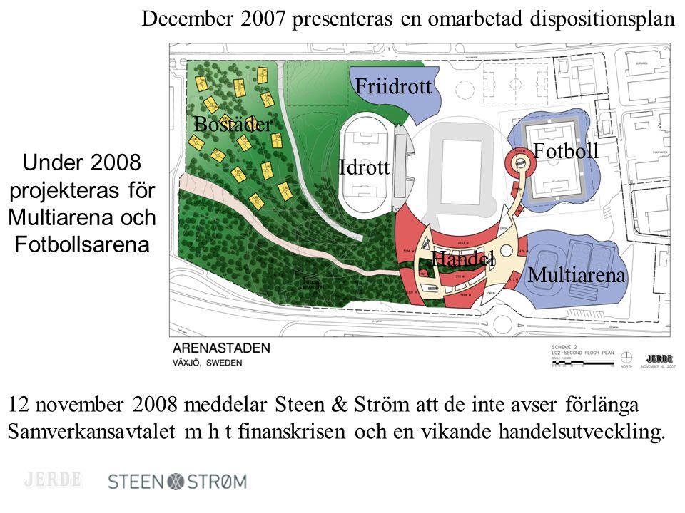 December 2007 presenteras en omarbetad dispositionsplan Bostäder Friidrott Idrott Handel Fotboll Multiarena 12 november 2008 meddelar Steen & Ström att de inte avser förlänga Samverkansavtalet m h t finanskrisen och en vikande handelsutveckling.