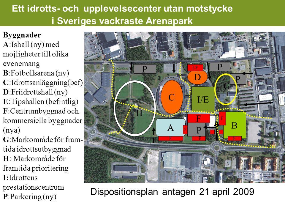 Ett idrotts- och upplevelsecenter utan motstycke i Sveriges vackraste Arenapark Byggnader A:Ishall (ny) med möjligheter till olika evenemang B:Fotbollsarena (ny) C:Idrottsanläggning(bef) D:Friidrottshall (ny) E:Tipshallen (befintlig) F:Centrumbyggnad och kommersiella byggnader (nya) G:Markområde för fram- tida idrottsutbyggnad H: Markområde för framtida prioritering I:Idrottens prestationscentrum P:Parkering (ny) B F F F A F F P P P D C I/E I/F P F G H Dispositionsplan antagen 21 april 2009