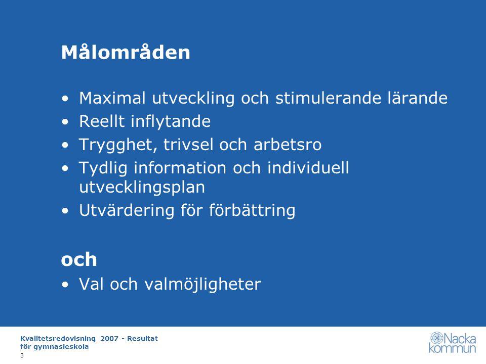 Kvalitetsredovisning 2007 - Resultat för gymnasieskola 14 Hur ska måluppfyllelsen öka.