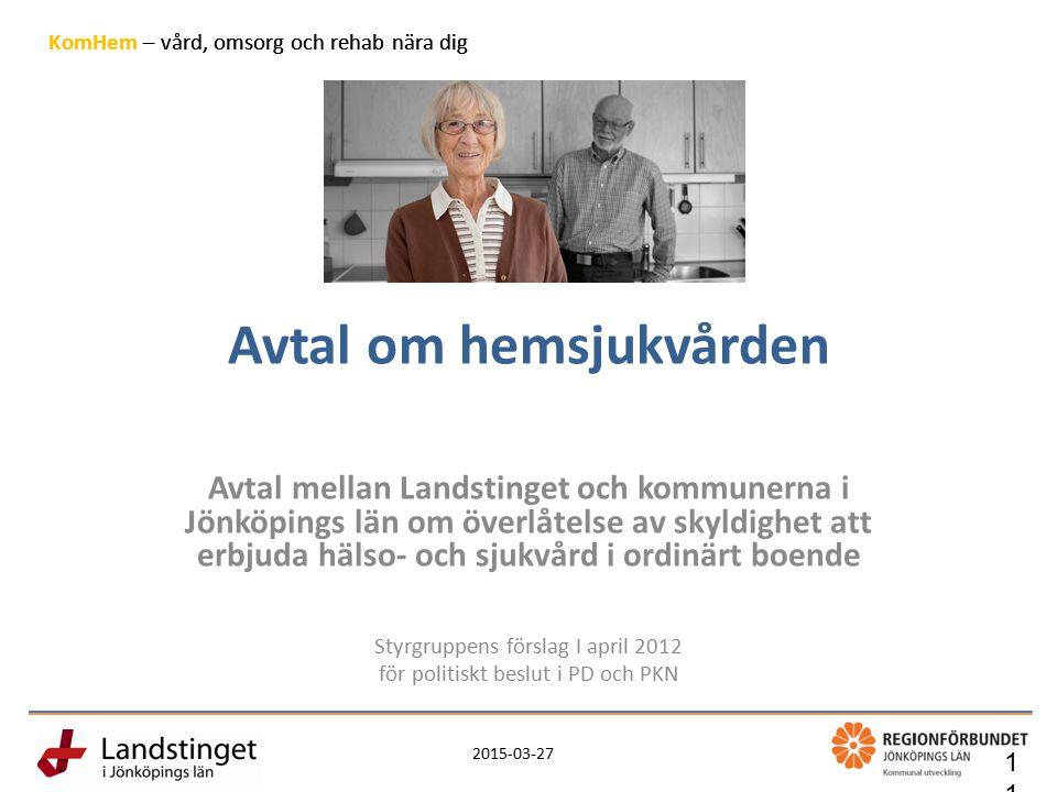 11 KomHem – vård, omsorg och rehab nära dig Avtal om hemsjukvården Avtal mellan Landstinget och kommunerna i Jönköpings län om överlåtelse av skyldigh