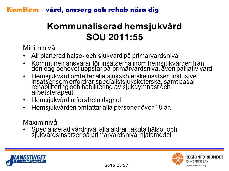KomHem – vård, omsorg och rehab nära dig 2015-03-27 Kommunaliserad hemsjukvård SOU 2011:55 Miniminivå All planerad hälso- och sjukvård på primärvårdsn