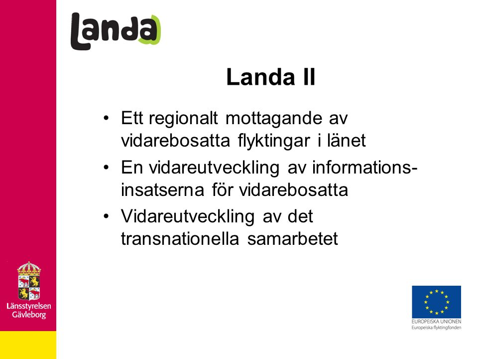 Landa II Ett regionalt mottagande av vidarebosatta flyktingar i länet En vidareutveckling av informations- insatserna för vidarebosatta Vidareutveckling av det transnationella samarbetet