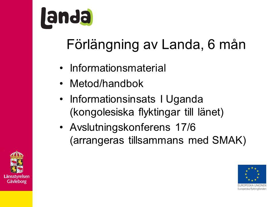 Förlängning av Landa, 6 mån Informationsmaterial Metod/handbok Informationsinsats I Uganda (kongolesiska flyktingar till länet) Avslutningskonferens 17/6 (arrangeras tillsammans med SMAK)