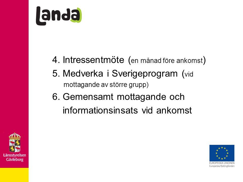 4. Intressentmöte ( en månad före ankomst ) 5. Medverka i Sverigeprogram ( vid mottagande av större grupp) 6. Gemensamt mottagande och informationsins
