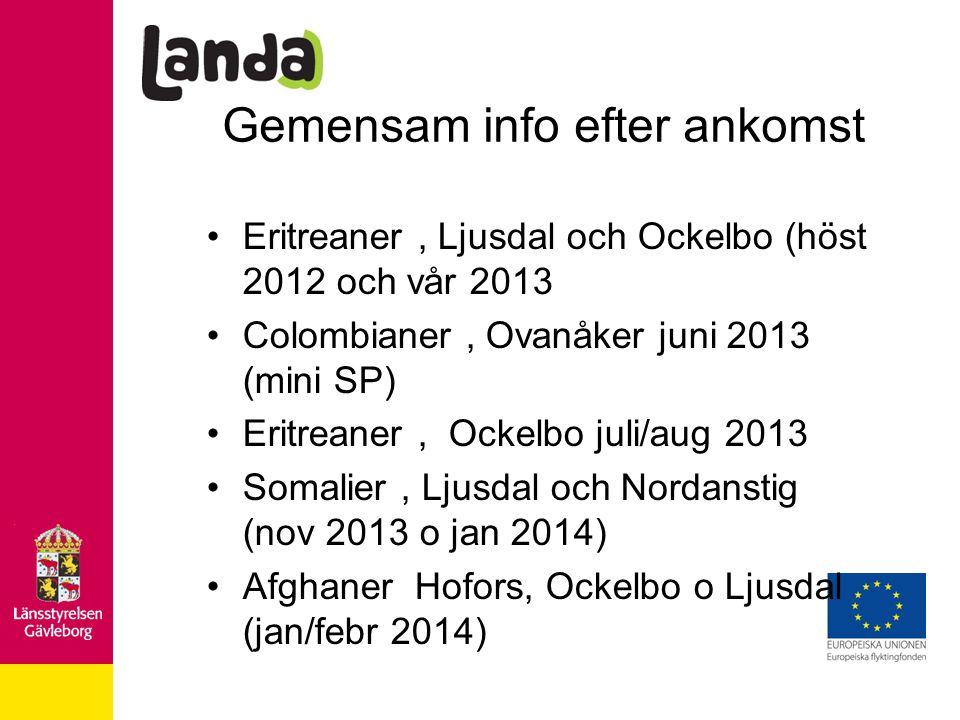 Gemensam info efter ankomst Eritreaner, Ljusdal och Ockelbo (höst 2012 och vår 2013 Colombianer, Ovanåker juni 2013 (mini SP) Eritreaner, Ockelbo juli