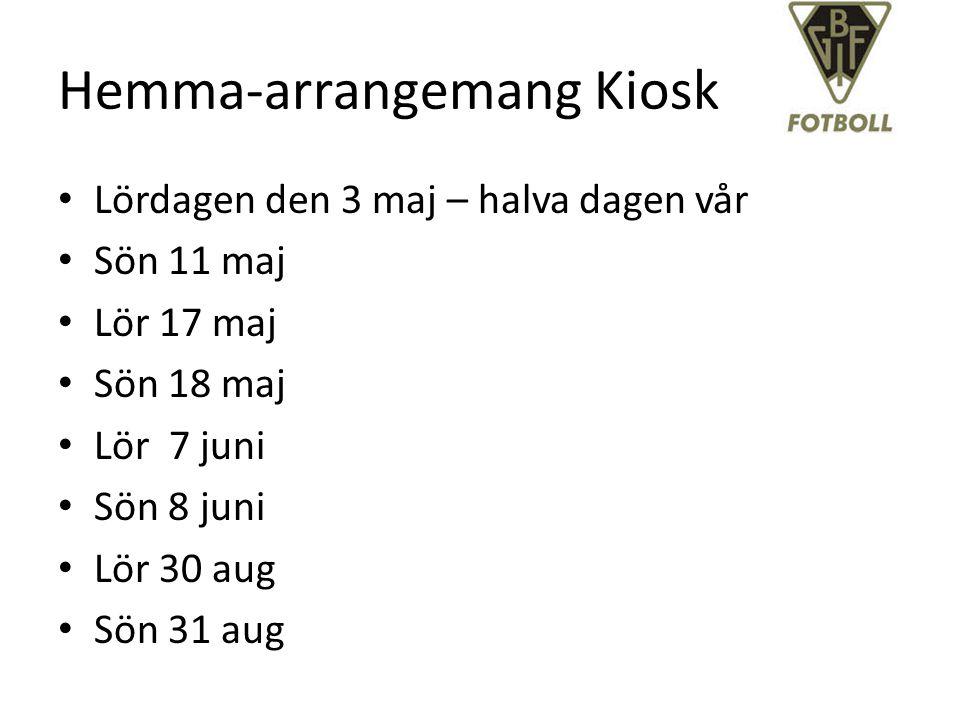 Hemma-arrangemang Kiosk Lördagen den 3 maj – halva dagen vår Sön 11 maj Lör 17 maj Sön 18 maj Lör 7 juni Sön 8 juni Lör 30 aug Sön 31 aug