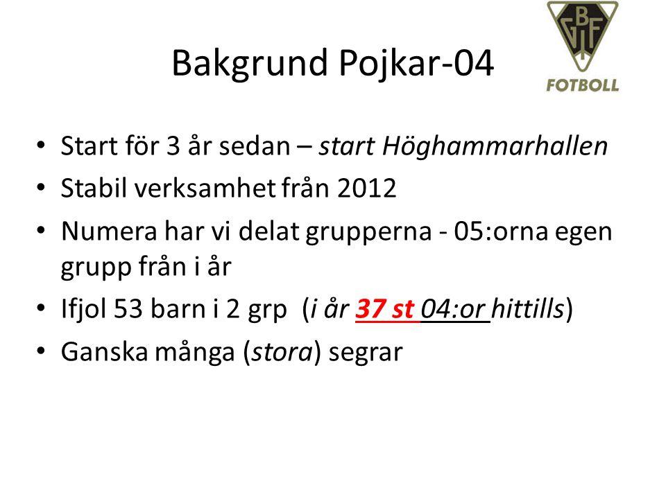 Bakgrund Pojkar-04 Start för 3 år sedan – start Höghammarhallen Stabil verksamhet från 2012 Numera har vi delat grupperna - 05:orna egen grupp från i