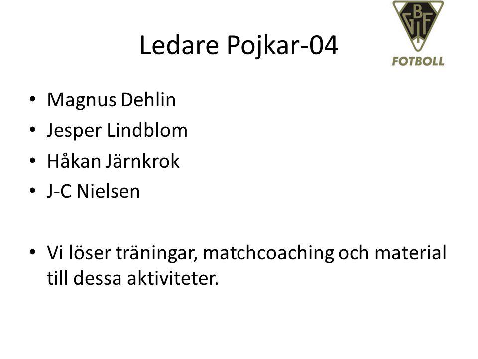 Ledare Pojkar-04 Magnus Dehlin Jesper Lindblom Håkan Järnkrok J-C Nielsen Vi löser träningar, matchcoaching och material till dessa aktiviteter.
