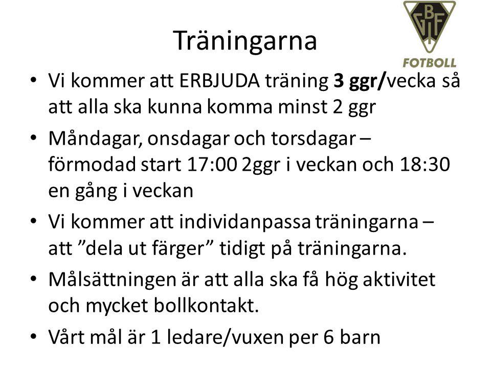 Träningarna Vi kommer att ERBJUDA träning 3 ggr/vecka så att alla ska kunna komma minst 2 ggr Måndagar, onsdagar och torsdagar – förmodad start 17:00