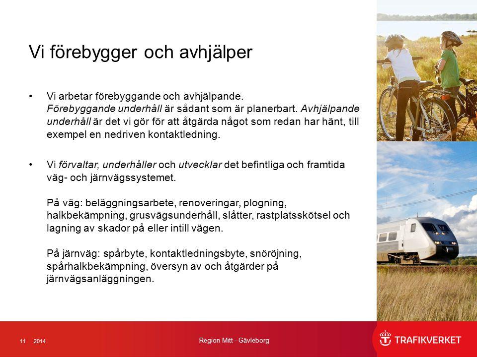112014 Region Mitt - Gävleborg Vi förebygger och avhjälper Vi arbetar förebyggande och avhjälpande. Förebyggande underhåll är sådant som är planerbart