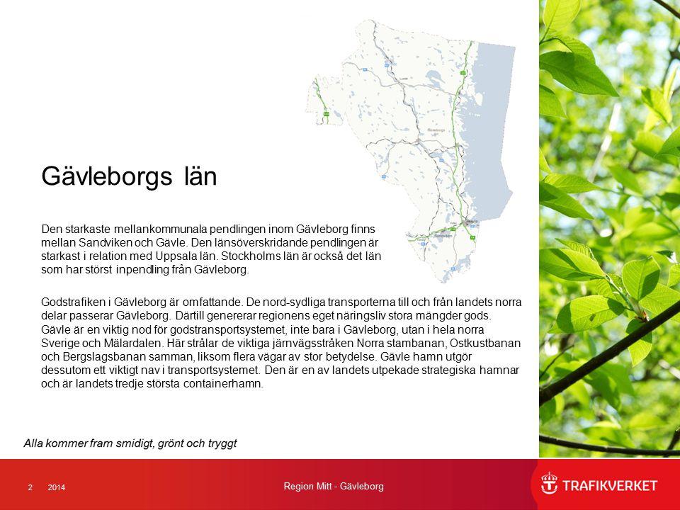 22014 Region Mitt - Gävleborg Gävleborgs län Den starkaste mellankommunala pendlingen inom Gävleborg finns mellan Sandviken och Gävle. Den länsöverskr