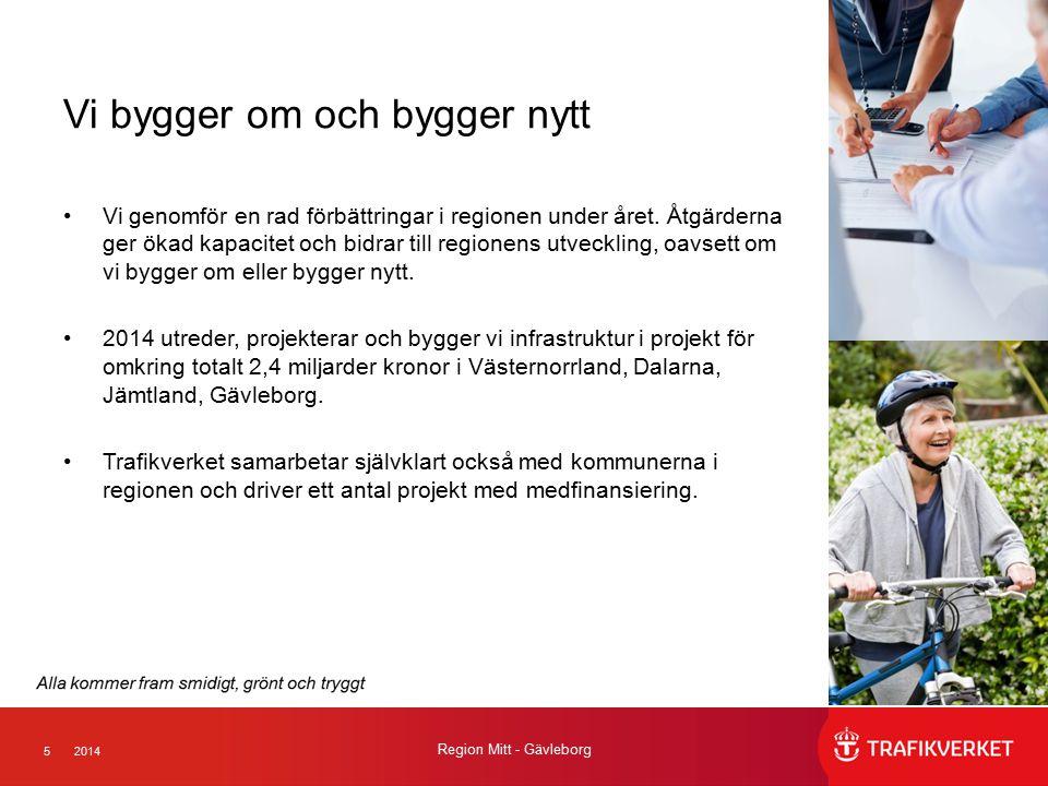 52014 Region Mitt - Gävleborg Vi bygger om och bygger nytt Vi genomför en rad förbättringar i regionen under året. Åtgärderna ger ökad kapacitet och b