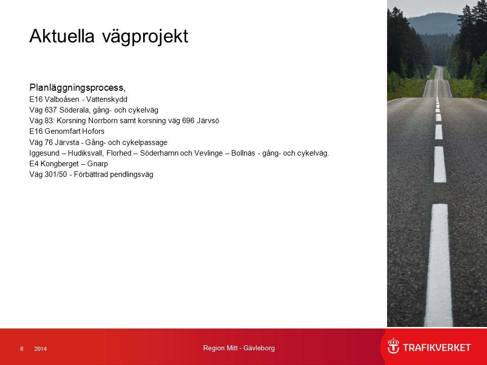 82014 Region Mitt - Gävleborg Aktuella vägprojekt Planläggningsprocess, E16 Valboåsen - Vattenskydd Väg 637 Söderala, gång- och cykelväg Väg 83: Korsn