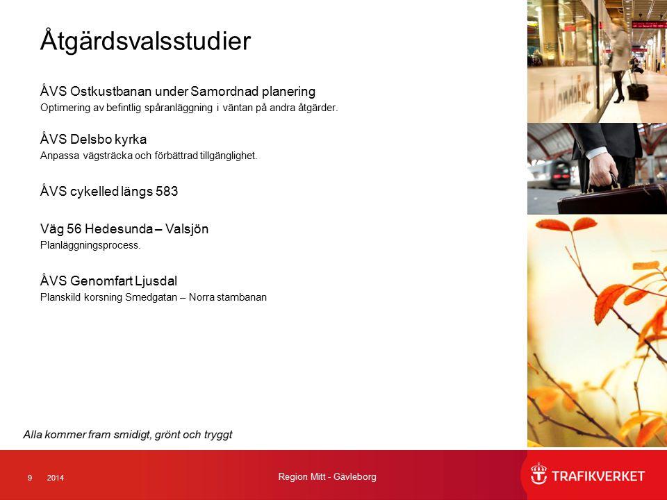 92014 Region Mitt - Gävleborg Åtgärdsvalsstudier ÅVS Ostkustbanan under Samordnad planering Optimering av befintlig spåranläggning i väntan på andra å