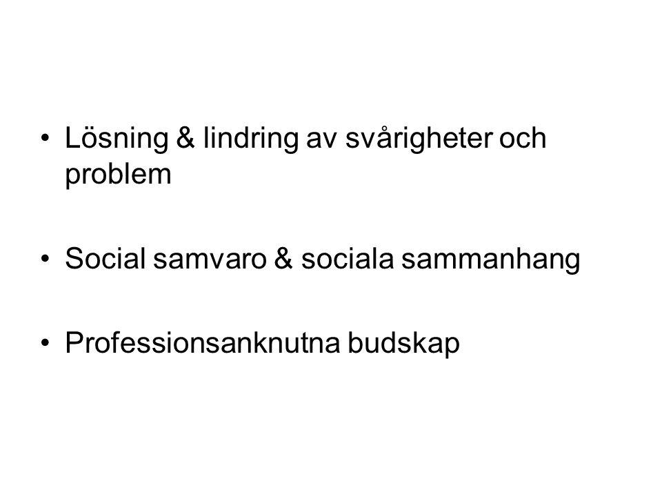 Lösning & lindring av svårigheter och problem Social samvaro & sociala sammanhang Professionsanknutna budskap