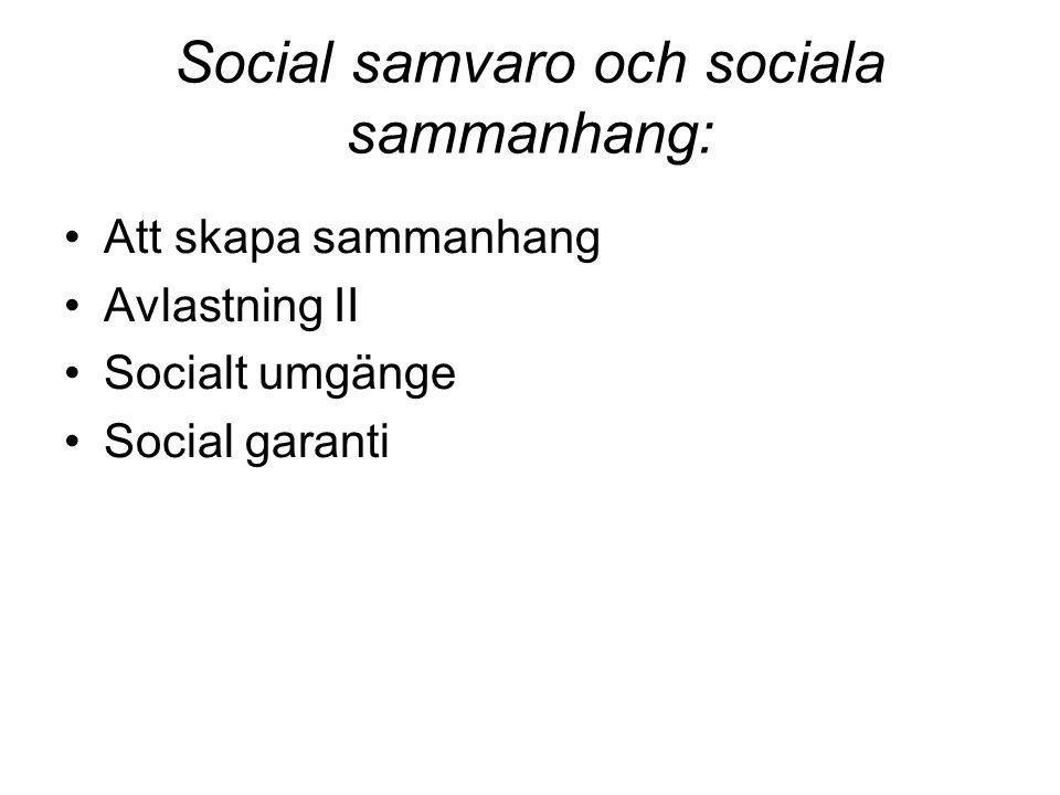 Social samvaro och sociala sammanhang: Att skapa sammanhang Avlastning II Socialt umgänge Social garanti