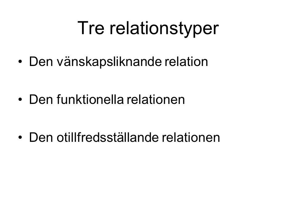 Tre relationstyper Den vänskapsliknande relation Den funktionella relationen Den otillfredsställande relationen