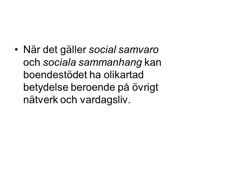 När det gäller social samvaro och sociala sammanhang kan boendestödet ha olikartad betydelse beroende på övrigt nätverk och vardagsliv.