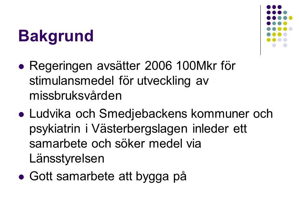 Bakgrund Regeringen avsätter 2006 100Mkr för stimulansmedel för utveckling av missbruksvården Ludvika och Smedjebackens kommuner och psykiatrin i Väst