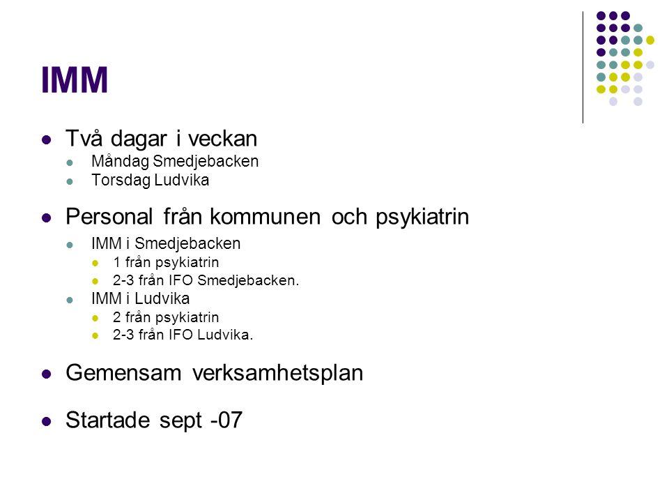 IMM Två dagar i veckan Måndag Smedjebacken Torsdag Ludvika Personal från kommunen och psykiatrin IMM i Smedjebacken 1 från psykiatrin 2-3 från IFO Sme