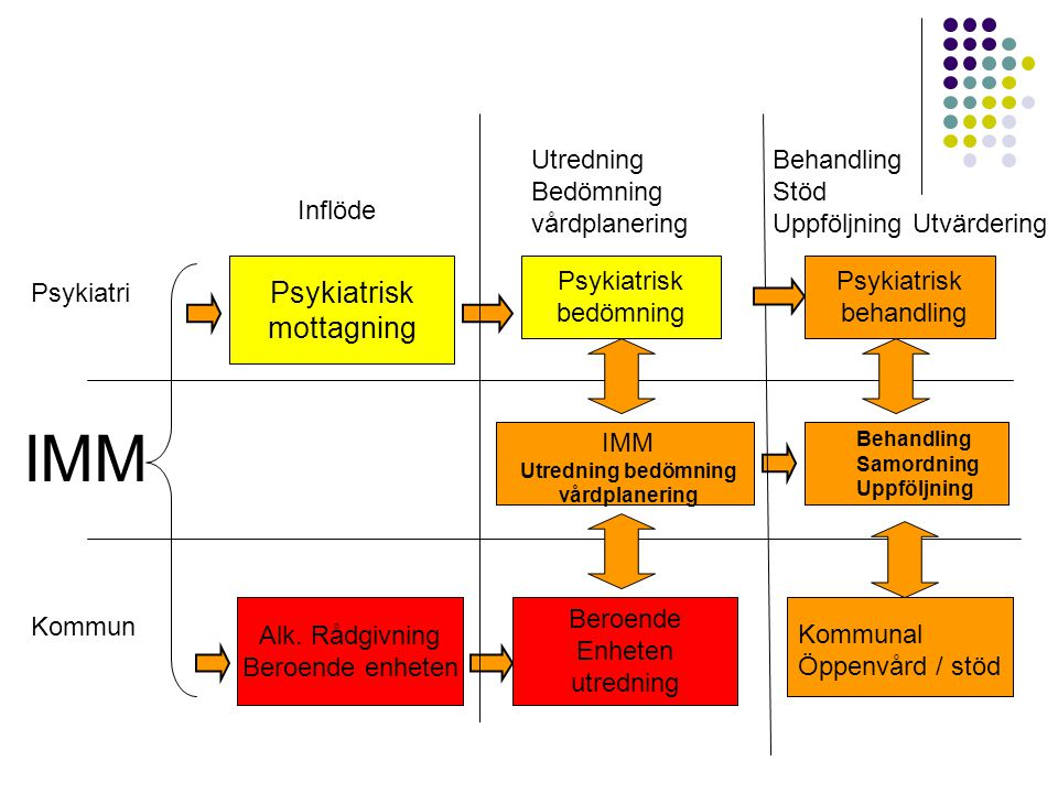 Psykiatrisk mottagning Psykiatrisk bedömning IMM Utredning bedömning vårdplanering Psykiatrisk behandling Behandling Samordning Uppföljning Alk. Rådgi