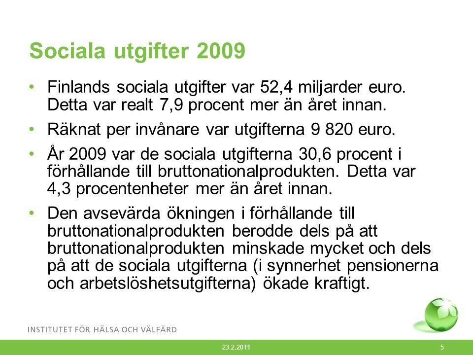 Sociala utgifter 2009 Finlands sociala utgifter var 52,4 miljarder euro. Detta var realt 7,9 procent mer än året innan. Räknat per invånare var utgift