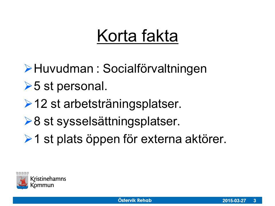 Östervik Rehab 2015-03-27 3 Korta fakta  Huvudman : Socialförvaltningen  5 st personal.  12 st arbetsträningsplatser.  8 st sysselsättningsplatser